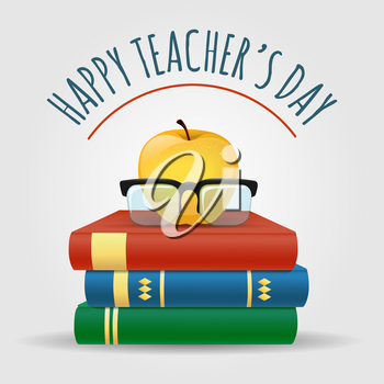 Illustration with books. apple and glasses. Happy Teacher's Day Poster. Vector illustration
