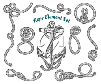 set of hand drawn ropes corners and loops. Vector rope design elements.