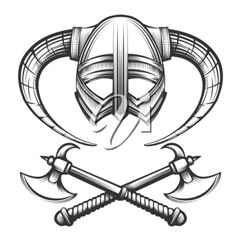 Viking helmet with horns and crossed viking axes drawn in engraving style. Vector illustration