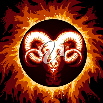 Ram head in Flame. Zodiac symbol Aries on fire background. Vector illustration.