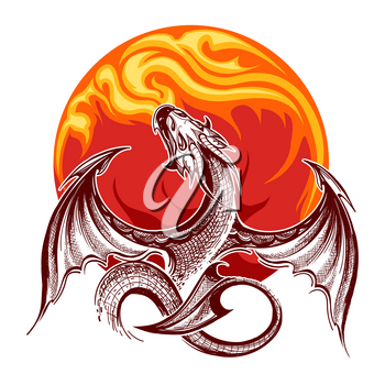 Flying fire-breathing Dragon on flame background. Vector illustration.
