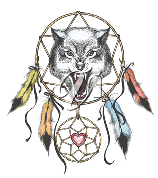 Ethnic totem of Wolf and Dreamcatcher in Tattoo style. Vector illustration