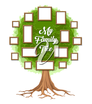 Family tree with photo frames. Parents and children pictures, dynasty of generations. Vector illustration.