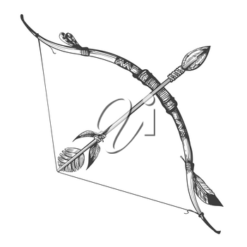 Bow and Arrow Hand Drawn Vector Illustration isolated on white