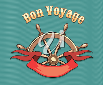 Nautical steering wheel and red ribbon and lettering Bon Voyage. Illustration in retro style. Travel concept