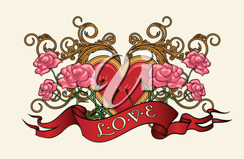 Heart in roses with thorns and wording Love. Illustration in tattoo style.
