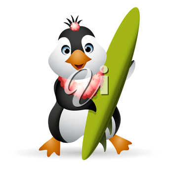 Penguin in flower necklace Holding a Surfboard. Illustration in cartoon style. Isolated on white background.