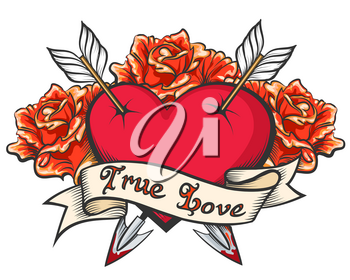 Heart Pierced by two arrows with ribbon and  lettering True Love. Vector illustration in tattoo style.
