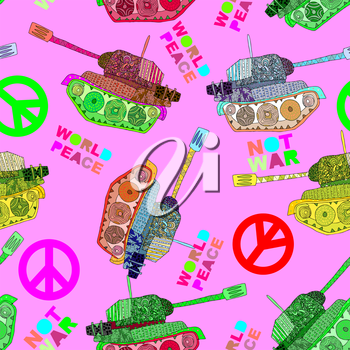 No war. Tank seamless pattern. hippie background. world peace