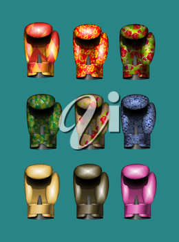 set boxing gloves Gold, pink, military, Russian national ornament, khokhloma, bronze, flame. Vector illustration. Eps 10