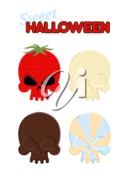 Sweet Halloween. Set Sweet skull of white and dark chocolate, strawberry and caramel. Vector illustration of candy for holidays