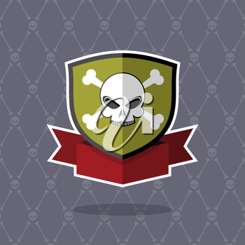 Shield with skull. pirate emblem, logo