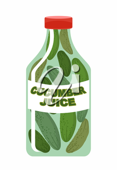 Cucumber juice. Juice from fresh vegetables. Cucumbers in a transparent bottle. Vitamin drink for healthy eating. Vector illustration.