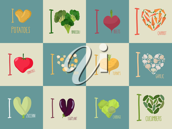 Set of I love vegetables: Eggplant and cucumber. Symbol of heart of  carrots and potatoes. I love tomato and garlic. Sign for vegetarians.
