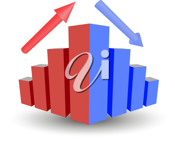 Business graph with growth, up arrow, down arrow, lifting sales, recession funding, vector graphics