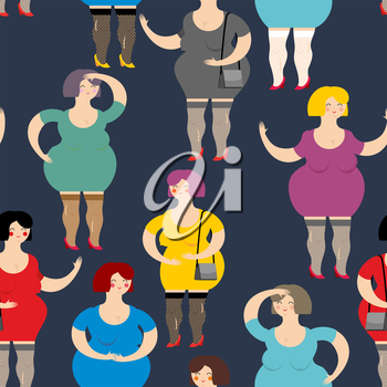 Night Prostitute seamless pattern. Many women are whores. Funny fat women sex industry workers. Texture of people.