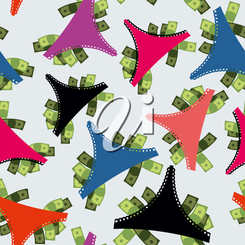 Money Panties seamless pattern. Panties and many dollars. Earnings for strippers. Background color of underwear.