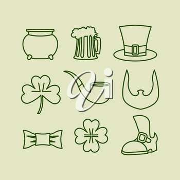 Patricks day icons set Linear symbols for Irish holiday. Leprechaun hat. Beard and clover. Four listnyj for lucky clover. Old shoe and tie butterfly