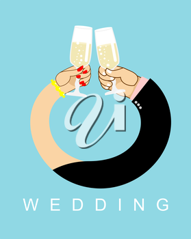Wedding. Hands entwined, men and women in ring. Drink champagne out of glasses. Newlyweds drink wine.  Allegory of love
