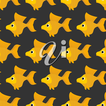 Goldfish seamless pattern. Vector background of fabulous yellow fish. Ornament of marine animals for childrens fabric.