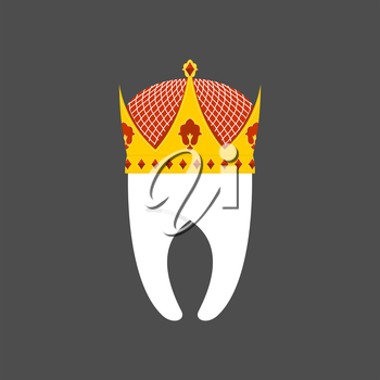 Tooth Crown. White pure Royal. Vector illustration logo for dentist
