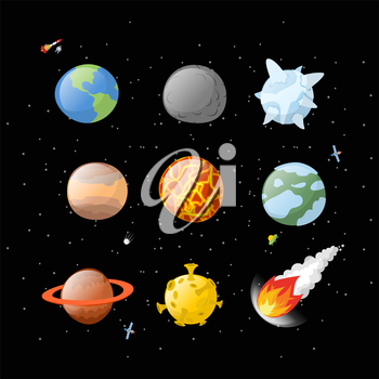 Planet set dark background. Dark space.  Planets of solar system by having  cartoon style. Earth, Jupiter. Mars and the Sun. falling meteorite. Fireball asteroid. Yellow Moon. Planet icons isolated. A