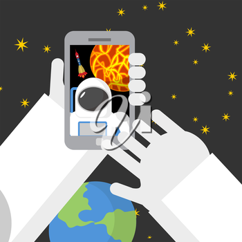 Selfie in space. Astronaut photographed myself on phone against backdrop of a rocket. Vector illustration.