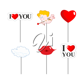 Valentines day photo props . Paper elements of love for photo shoot. February 14 lovers day. I love you. Lips and cloud. Cupid and kiss. Big red heart.