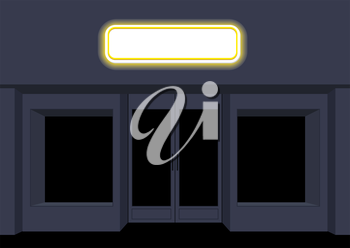 Night shop. Convenience store. Storefront at night. Empty black counters. Shining sign on facade of store.