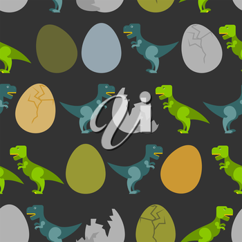 Tyrannosaurus and egg. Hatched  little t-Rex seamless pattern. Ornament for baby tissue. Many prehistoric predators. Jurassic beast
