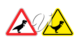 Attention of Tyrannosaurus. Danger sign. Cautious spending t-Rex dinosaur. Angry and scary Predator of Jurassic period.