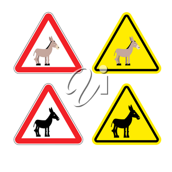 Warning sign attention donkey. Dangers yellow sign stupid man. Ass on red triangle. Set of road signs against idiocy. fool on road Warning