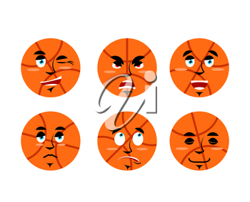 Emotions basketball ball. Set expressions avatar sports game. Good and evil. Discouraged and cheerful. Face Sports Apparel