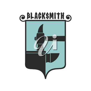 Blacksmithing emblem. Logo for smithy. Wrought iron. Hammer and anvil. Sign for smith