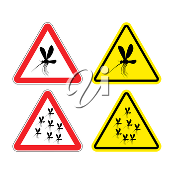 Warning sign attention mosquitoes. Hazard yellow sign Zika virus. flock of mosquitoes on red triangle. Swarm of mosquitoes. risk of malaria. Malaria mosquito road signs