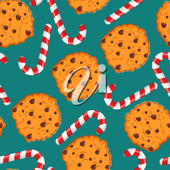 Peppermint Christmas candy and cookies pattern. Sweet festive background. Mint stick and cookie ornament. New Year tradition food texture