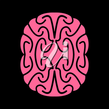 Abstract brain. Pink Brains on black background