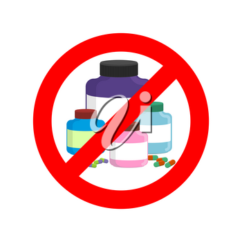 Stop doping. It is forbidden to take stimulants. Crossed-out sports nutrition and pills. Emblem against steroids. Red prohibition sign. Ban dope