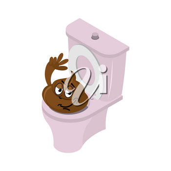 Funny shit and toilet. Funny Turd of closet. Pink toilet WS