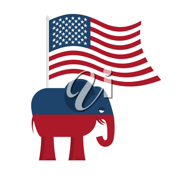 Republican Elephant. Symbol of political party in America. Political illustration for elections in America. USA Flag