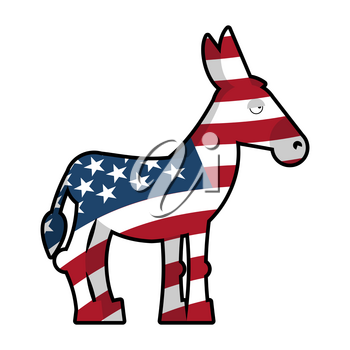 Donkey Democrat. Symbol of political party in America. USA Flag texture.