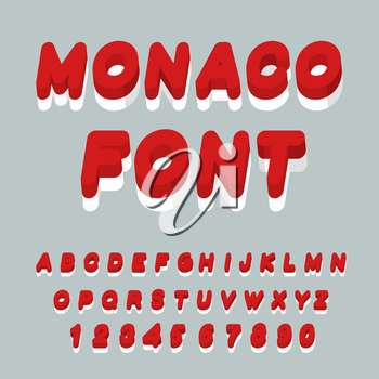Monaco font. Monaco flag on letters. National Patriotic alphabet. 3d letter. State color symbolism European state