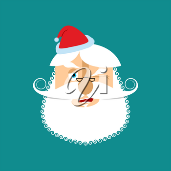 Santa Winks Emoji. Jolly Santa Claus. head of grandfather with beard and mustache isolated. Christmas avatars