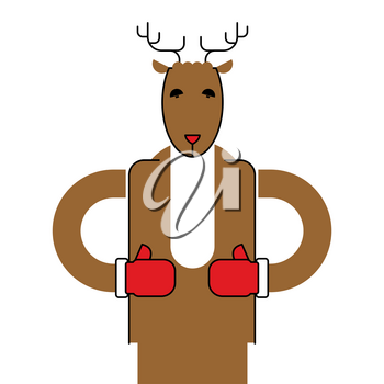 Deer Santa isolated. Christmas animal. Beast for new year