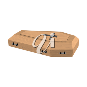 Coffin isolated. Wooden casket on white background. Religion object