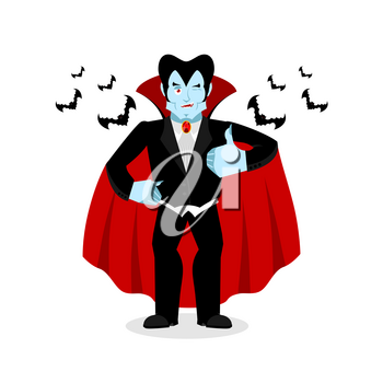 Dracula Thumbs up shows well. Vampire winks. Sign all right. Jolly Good ghoul. Mimicry smile on his face. Gesture hands okay. Illustration for halloween. Bats and bloody moon