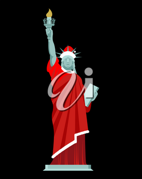 Santa Statue of Liberty. Monument in suit of Claus. Christmas hat and red clothes. USA Patriot National landmark