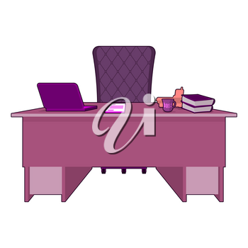 Pink office. Gay boss. LGBT office. Table director. leader of desktop. Laptop and phone. Cup of coffee and purple chair chief