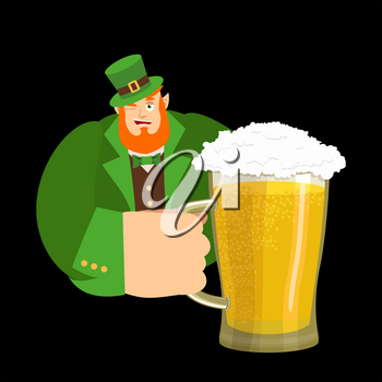 Happy St.Patrick 's Day. Leprechaun and mug beer. Dwarf with red beard mug ale. Holiday in Ireland
