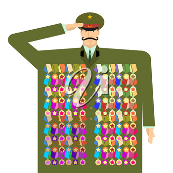 Russian officer and awards and medals. Illustration for 23 February. Day of Defenders of Fatherland. Traditional military celebration in Russia